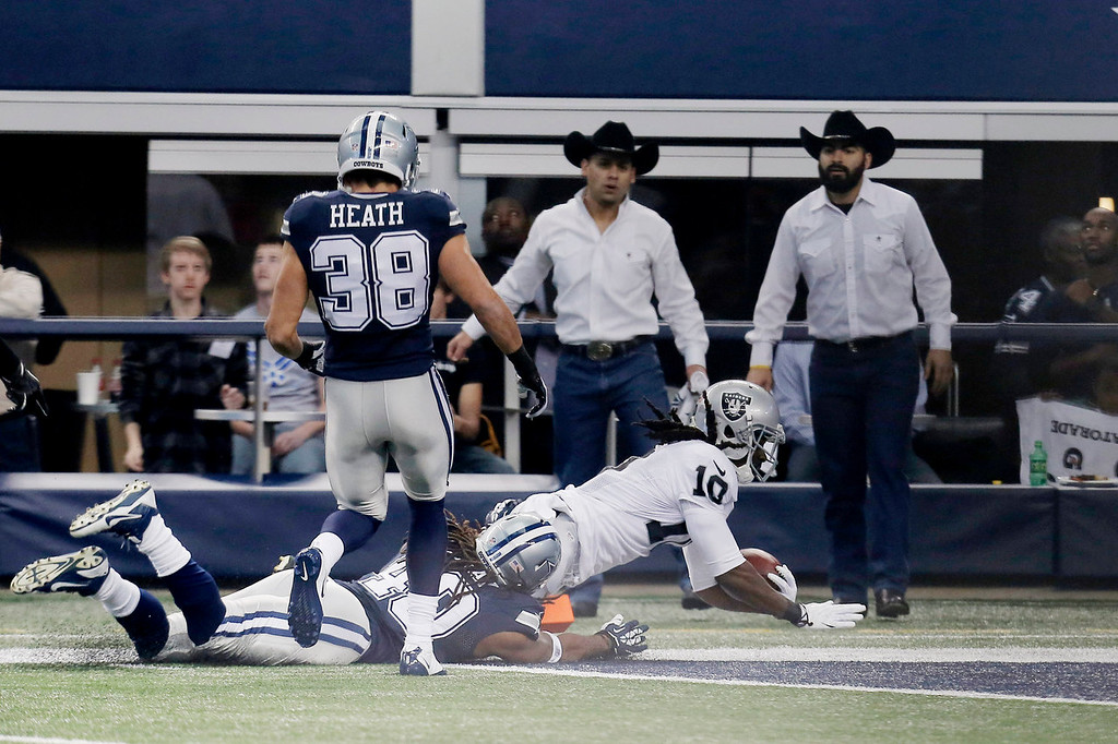 Description of . Oakland Raiders wide receiver Greg Jenkins (10) runs in  a Dallas Cowboys fumble for a touchdown during the first have of an NFL football game, Thursday, Nov. 28, 2013, in Arlington, Texas.  (AP Photo/Brandon Wade)