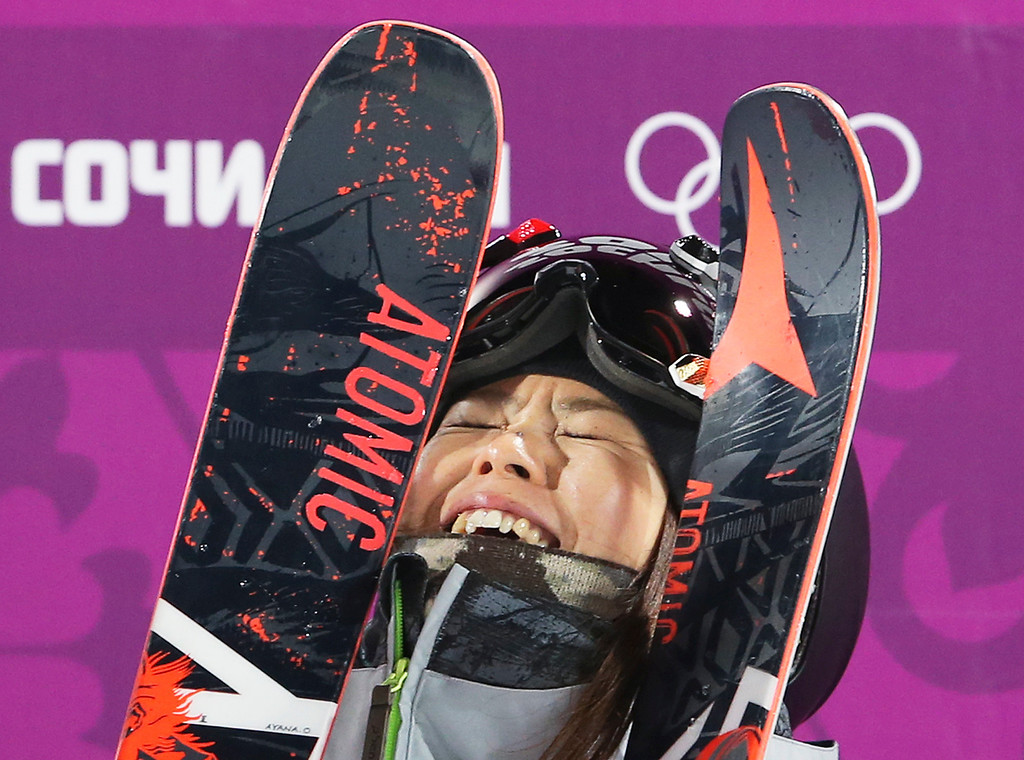 Description of . Japan's Ayana Onozuka reacts after her second run in the women's ski halfpipe final at the Rosa Khutor Extreme Park, at the 2014 Winter Olympics, Thursday, Feb. 20, 2014, in Krasnaya Polyana, Russia. (AP Photo/Sergei Grits)