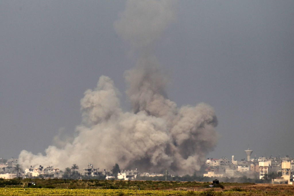 Description of . In a picture taken from the Israel-Gaza border, smoke rises from the coastal side of the Gaza Strip following an Israeli controlled explosion of a tunnel, on August 1, 2014 after Israeli Prime Minister Benjamin Netanyahu announced the previous day that the army will continue working to destroy tunnels used by Gaza militants for cross-border attacks with or without a ceasefire. Even as troops have worked to destroy the tunnels, some of which have been booby trapped, militants have managed to use them to infiltrate southern Israel five times, Haaretz newspaper reported. AFP PHOTO / JACK  GUEZ/AFP/Getty Images