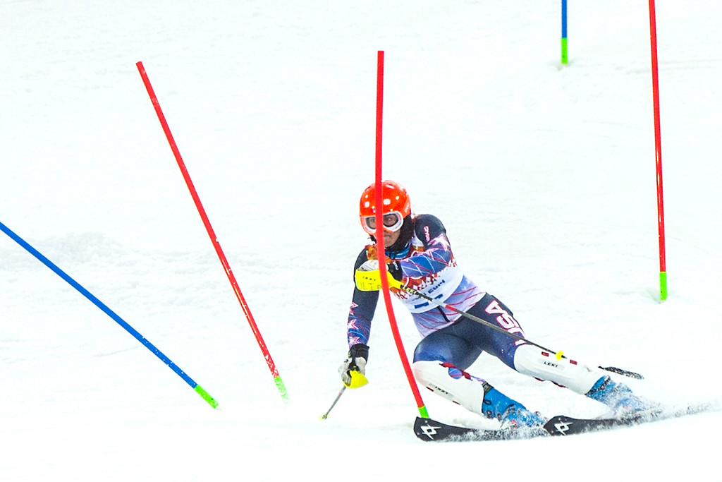 Description of . Julia Ford competes in run 1 of the women's slalom competition at Rosa Khutor Alpine Center during the 2014 Sochi Olympics Friday February 21, 2014. Ford is currently in 30th place with a time of 58.88. (Photo by Chris Detrick/The Salt Lake Tribune)