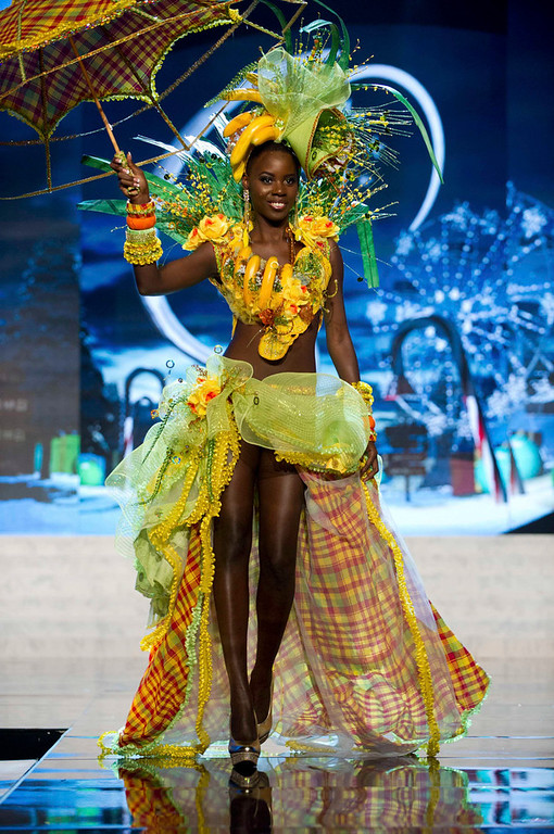 Description of . Miss St. Lucia Tara Edward performs onstage at the 2012 Miss Universe National Costume Show at PH Live in Las Vegas, Nevada December 14, 2012. The 89 Miss Universe Contestants will compete for the Diamond Nexus Crown on December 19, 2012. REUTERS/Darren Decker/Miss Universe Organization/Handout