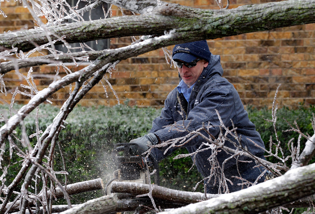 Description of . Stephen Lanning, a city of Richardson, employee uses a chain saw to cut limbs from a ice covered tree that fell across a neighborhood intersection, Friday, Dec. 6, 2013, in Richardson, Texas. (AP Photo/Tony Gutierrez)