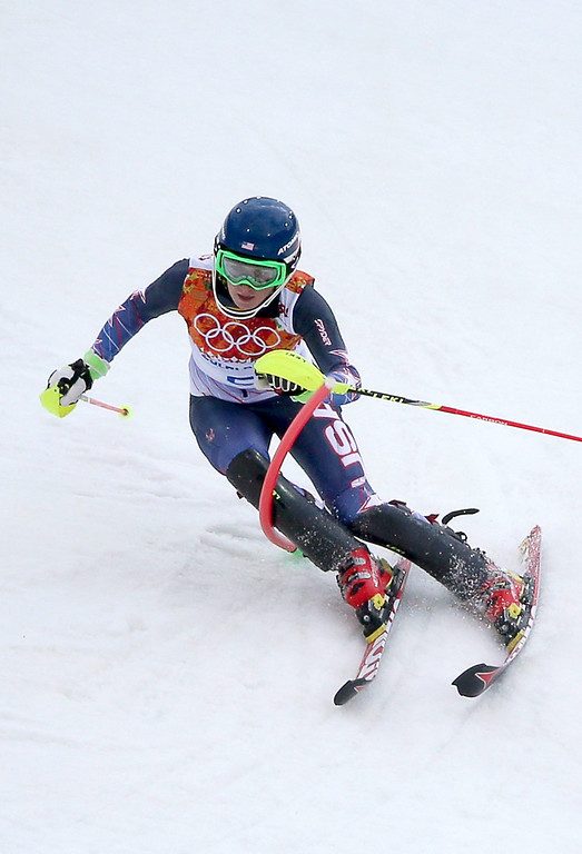 Description of . Mikaela Shiffrin of the USA in action during the first run of the Women's Slalom race at the Rosa Khutor Alpine Center during the Sochi 2014 Olympic Games, Krasnaya Polyana, Russia, 21 February 2014.  EPA/FREDRIK VON ERICHSEN