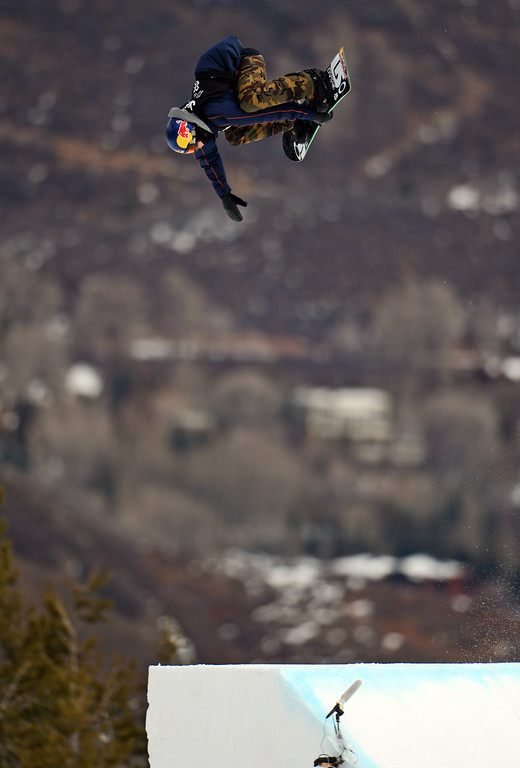 Description of . ASEN, CO. - JANUARY 26:  Mark McMorris catches big air during the Men's Snowboard Slopestyle Final, January 26, 2013, at the 2013 Winter X Games at Buttermilk Mountain in Aspen. McMorris won gold in the event. (Photo By RJ Sangosti / The Denver Post)