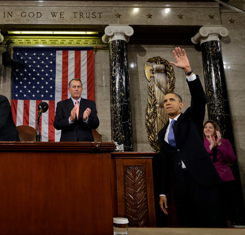 Description of . President Barack Obama waves and House Speaker John Boehner of Ohio applauds after the president gave his State of the Union address during a joint session of Congress on Capitol Hill in Washington, Tuesday Feb. 12, 2013. (AP Photo/Charles Dharapak, Pool)