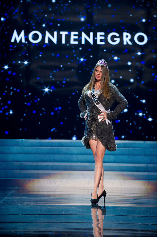 Description of . Miss Montenegro 2012, Andrea Radonjic, rehearses for the 2012 Miss Universe Presentation Show in Las Vegas, Nevada, December 13, 2012.  The Miss Universe 2012 pageant will be held on December 19, 2012 at the Planet Hollywood Resort and Casino in Las Vegas. REUTERS/Darren Decker/Miss Universe Organization L.P/Handout