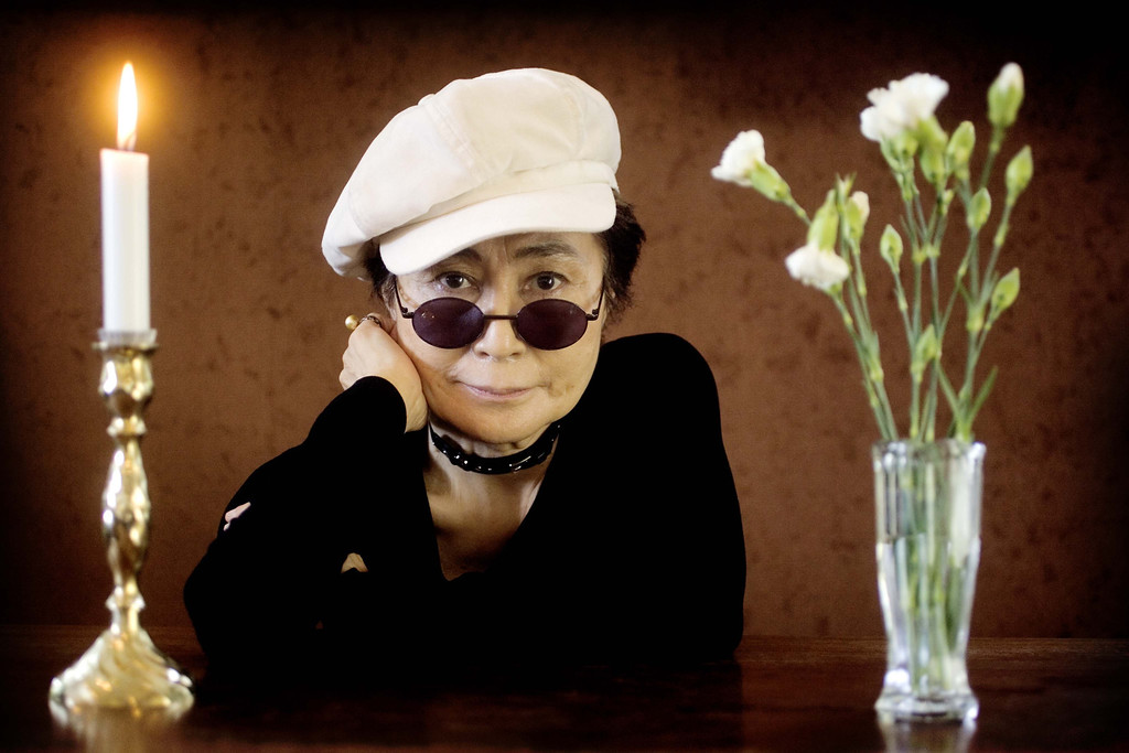 "Description of . Artist Yoko Ono poses as she promotes her exhibition ""Women\'s Room\"" at the Women\'s Museum in Aarhus, Denmark, Wednesday, May 19, 2004. Besides the exhibition, Ono will perform at the museum, Thursday. (AP Photo/Polfoto, Peter Hove Olesen)"