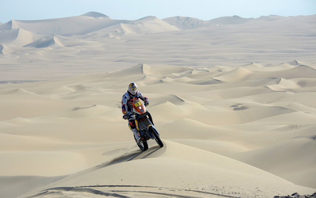 Description of . KTM's rider Cyril Despres of France competes during Stage 3 of the Dakar Rally 2013 between Pisco and Nazca, Peru, on January 7, 2013. The rally will take place in Peru, Argentina and Chile from January 5-20.  FRANCK FIFE/AFP/Getty Images
