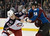 DENVER, CO. - JANUARY 24: Colorado Avalanche left wing Patrick Bordeleau (58) fights Columbus Blue Jackets right wing Jared Boll (40) during the first period at Pepsi Center. The Colorado Avalanche take on the Columbus Blue Jackets 