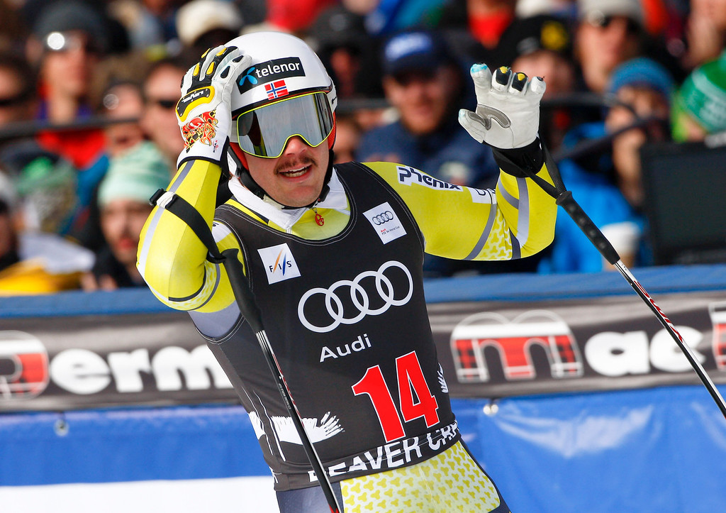 Description of . Kjetil Jansrud from Norway, reacts in the finish arena during the men's World Cup downhill ski race in Beaver Creek, Colo., on Friday, Nov. 30, 2012.  (AP Photo/Alessandro Trovati)