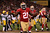 Running back Frank Gore #21 of the San Francisco 49ers celebrates after scoring a touchdown in the fourth quarter against the Green Bay Packers during the NFC Divisional Playoff Game at Candlestick Park on January 12, 2013 in San Francisco, California.  (Photo by Stephen Dunn/Getty Images)