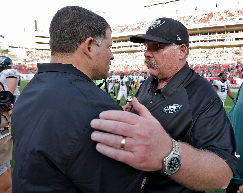 Description of . Philadelphia Eagles head coach Andy Reid, right, consols Tampa Bay Buccaneers head coach Greg Schiano after the Eagles defeated the Buccaneers 23-21 during an NFL football game Sunday, Dec. 9, 2012, in Tampa, Fla. (AP Photo/Chris O\'Meara)