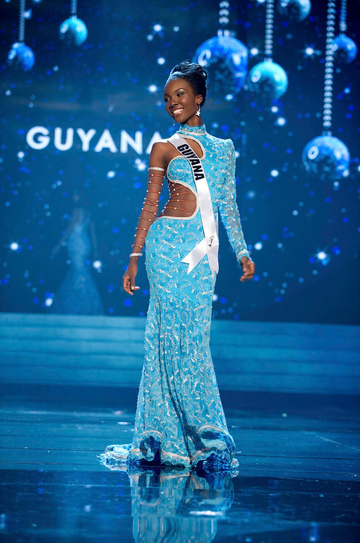 Description of . Miss Guyana 2012 Ruqayyah Boyer competes in an evening gown of her choice during the Evening Gown Competition of the 2012 Miss Universe Presentation Show in Las Vegas, Nevada, December 13, 2012. The Miss Universe 2012 pageant will be held on December 19 at the Planet Hollywood Resort and Casino in Las Vegas. REUTERS/Darren Decker/Miss Universe Organization L.P/Handout