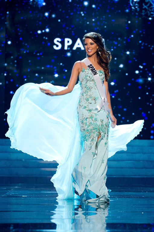 Description of . Miss Spain 2012 Andrea Huisgen competes in an evening gown of her choice during the Evening Gown Competition of the 2012 Miss Universe Presentation Show in Las Vegas, Nevada, December 13, 2012. The Miss Universe 2012 pageant will be held on December 19 at the Planet Hollywood Resort and Casino in Las Vegas. REUTERS/Darren Decker/Miss Universe Organization L.P/Handout