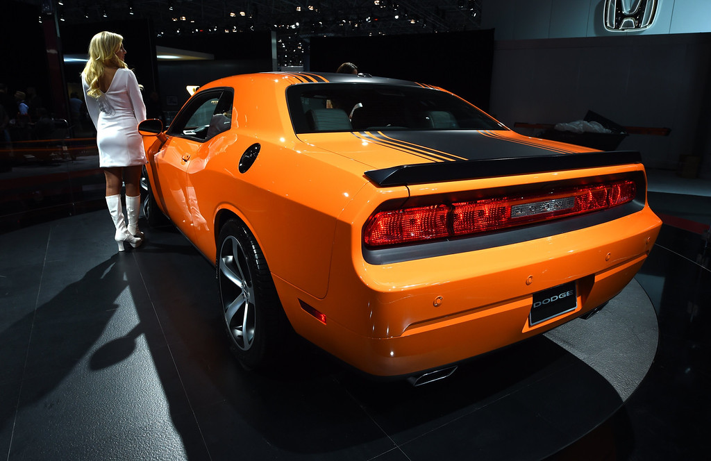 Description of . The 2014 Dodge Challenger on display during the first  press preview day at the 2014 New York International Auto Show  April 16, 2014  in New York at the Jacob Javits Center. AFP PHOTO / Timothy A. Clary/AFP/Getty Images