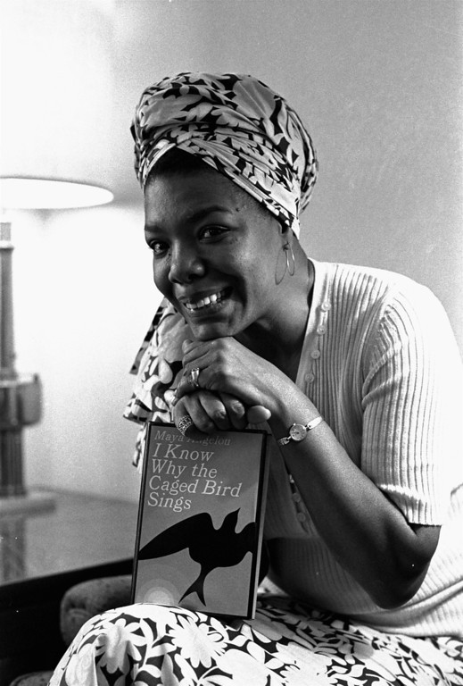 ". Maya Angelou, a 6 foot multi-talented ex-Arkansan, was hired as Hollywood\'s first black woman movie director, November 3, 1971.  She\'ll write the script and music, as well as direct ""Caged Bird,\"" which is based on her best-selling 1969 autobiography.  She\'s been a professional singer, dancer, writer, composer, poet, lecturer, editor, and San Francisco streetcar conductorette.(AP Photo/stf)"