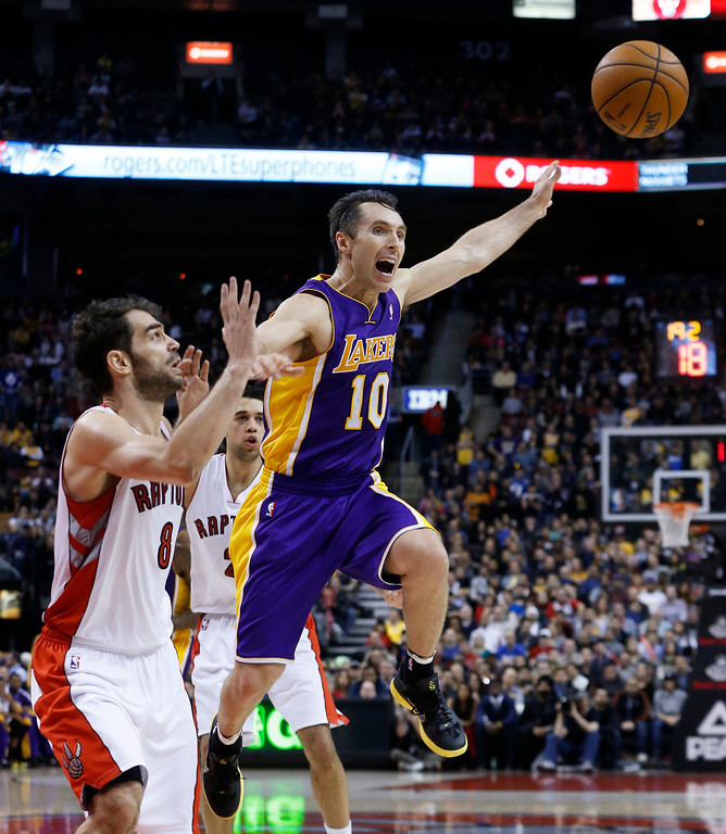 Description of . Los Angeles Lakers' Steve Nash (R) is guarded by Toronto Raptors' Jose Calderon during the second half of their NBA basketball game in Toronto, January 20, 2013.     REUTERS/Mark Blinch