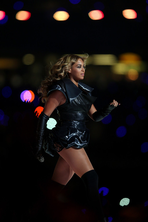 Description of . Singer Beyonce performs during the Pepsi Super Bowl XLVII Halftime Show at the Mercedes-Benz Superdome on February 3, 2013 in New Orleans, Louisiana.  (Photo by Mike Ehrmann/Getty Images)