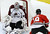 Colorado Avalanche goalie Semyon Varlamov (1), of Russia, makes a save on a shot by Chicago Blackhawks center Jonathan Toews during the second period of an NHL hockey game, Wednesday, March 6, 2013, in Chicago. (AP Photo/Charles Rex Arbogast)