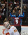 DENVER, CO. - FEBRUARY 28: Matt Duchene (9) of the Colorado Avalanche celebrates his game winning goal in the third period as Joey MacDonald (35) of the Calgary Flames kneels dejected February 28, 2013 at Pepsi Center.(Photo By John Leyba/The Denver Post)