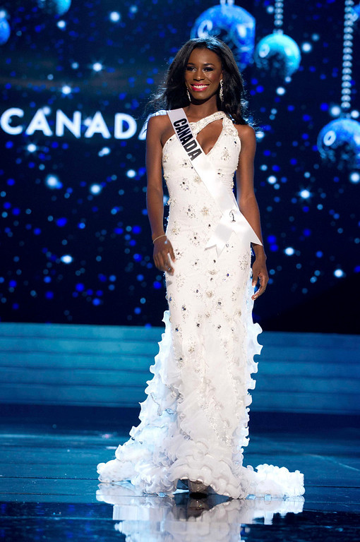 Description of . Miss Canada 2012 Adwoa Yamoah competes in an evening gown of her choice during the Evening Gown Competition of the 2012 Miss Universe Presentation Show in Las Vegas, Nevada, December 13, 2012. The Miss Universe 2012 pageant will be held on December 19 at the Planet Hollywood Resort and Casino in Las Vegas. REUTERS/Darren Decker/Miss Universe Organization L.P/Handout
