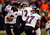 Baltimore Ravens quarterback Joe Flacco (5) hands off to Baltimore Ravens running back Ray Rice (27) during the third quarter.  The Denver Broncos vs Baltimore Ravens AFC Divisional playoff game at Sports Authority Field Saturday January 12, 2013. (Photo by John Leyba,/The Denver Post)