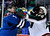 Colorado Avalanche defenseman Ryan O'Byrne (3) fights with Minnesota Wild defenseman Justin Falk (44) during the first period of an NHL hockey game on Saturday, March 16, 2013, in Denver. (AP Photo/Jack Dempsey)