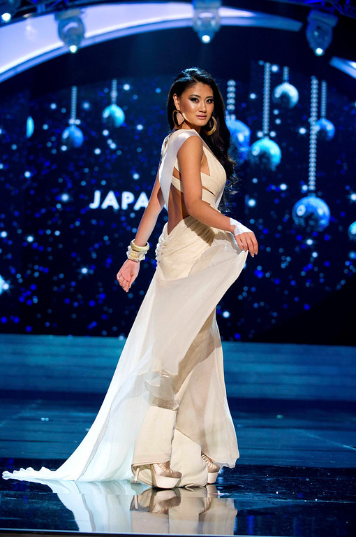 Description of . Miss Japan 2012 Ayako Hara competes in an evening gown of her choice during the Evening Gown Competition of the 2012 Miss Universe Presentation Show in Las Vegas, Nevada, December 13, 2012. The Miss Universe 2012 pageant will be held on December 19 at the Planet Hollywood Resort and Casino in Las Vegas. REUTERS/Darren Decker/Miss Universe Organization L.P/Handout