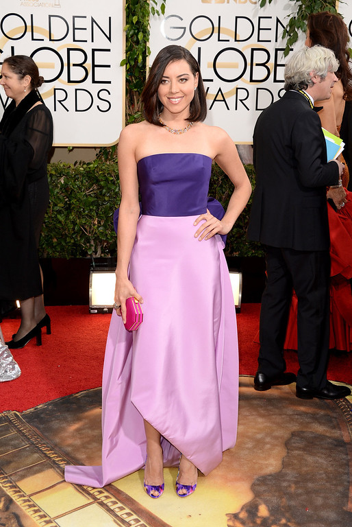 Description of . Actress Aubrey Plaza attends the 71st Annual Golden Globe Awards held at The Beverly Hilton Hotel on January 12, 2014 in Beverly Hills, California.  (Photo by Jason Merritt/Getty Images)