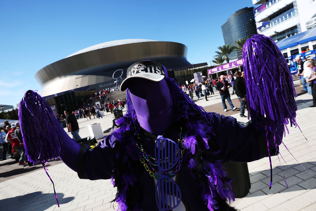Description of . A fan of the Baltimore Ravens shows support for his team outside the stadium prior to Super Bowl XLVII against the San Francisco 49ers at the Mercedes-Benz Superdome on February 3, 2013 in New Orleans, Louisiana.  (Photo by Win McNamee/Getty Images)