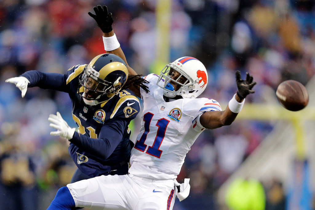 Description of . St. Louis Rams cornerback Janoris Jenkins (21) breaks up a pass intended for Buffalo Bills wide receiver T.J. Graham (11) during the second half of an NFL football game, Sunday, Dec. 9, 2012, in Orchard Park, N.Y. The Rams won 15-12. (AP Photo/Gary Wiepert)