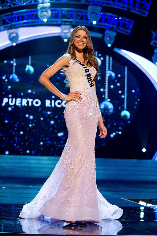 Description of . Miss Puerto Rico 2012 Bodine Koehler competes in an evening gown of her choice during the Evening Gown Competition of the 2012 Miss Universe Presentation Show in Las Vegas, Nevada, December 13, 2012. The Miss Universe 2012 pageant will be held on December 19 at the Planet Hollywood Resort and Casino in Las Vegas. REUTERS/Darren Decker/Miss Universe Organization L.P/Handout