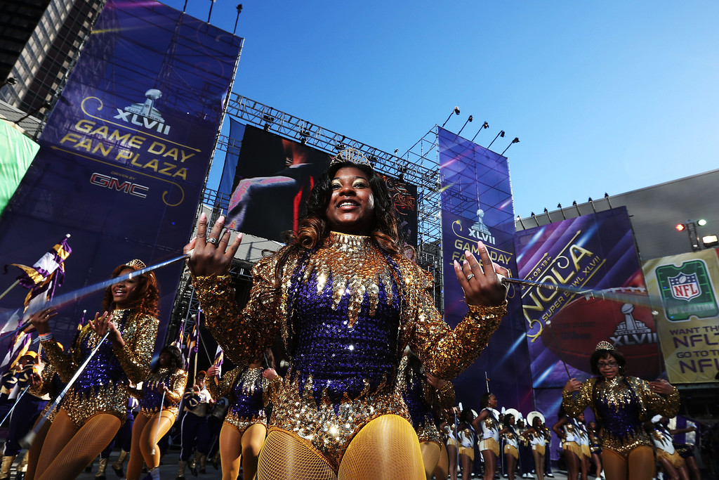 Description of . Dancers perform outside the stadium prior to the San Francisco 49ers playing against the Baltimore Ravens during Super Bowl XLVII at the Mercedes-Benz Superdome on February 3, 2013 in New Orleans, Louisiana.  (Photo by Win McNamee/Getty Images)