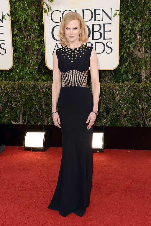 Description of . Actress Nicole Kidman also receives a nomination for worst dressed with this age-inappropriate dress at the 70th Annual Golden Globe Awards held at The Beverly Hilton Hotel on January 13, 2013 in Beverly Hills, California.  (Photo by Jason Merritt/Getty Images)