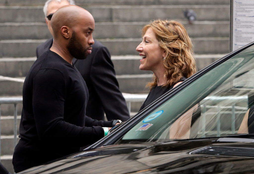Description of . Actress Edie Falco arrives for the funeral service of James Gandolfini, star of