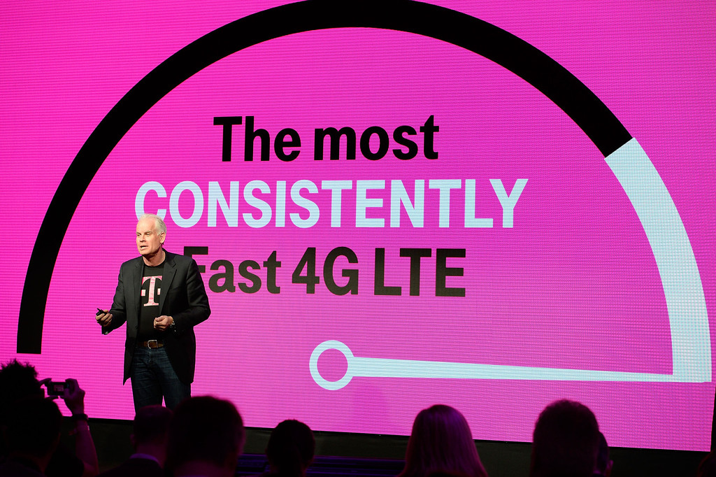 Description of . Neville Ray, CTO of T-Mobile US, Inc. announces that T-Mobile's nationwide 4G LTE network is the fastest in the country, according to millions of real-time speed tests involving more than 1 million consumers, at T-Mobile's Un-carrier 4.0 press event at International CES on Wednesday, Jan. 8, 2014 in Las Vegas. (Jeff Bottari / AP Images for T-Mobile)