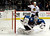 Colorado Avalanche goalie Semyon Varlamov (1), of Russia, lets the puck slip past for a goal as Chicago Blackhawks center Jonathan Toews (19) celebrates during the second period of an NHL hockey game, Monday, March 18, 2013, in Denver. (AP Photo/Jack Dempsey)