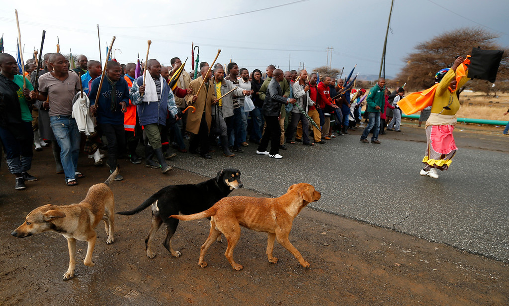 """Description of . Striking mineworkers march outside Lonmin\'s Marikana mine in South Africa\'s North West Province as they await the arrival of freed colleagues, September 6 2012. South Africa\'s militant AMCU union refused to sign a \""""peace deal\"""" with platinum company Lonmin on Thursday, undermining government-backed efforts to open pay talks and end a four-week strike scarred by deadly violence. REUTERS/Mike Hutchings"""