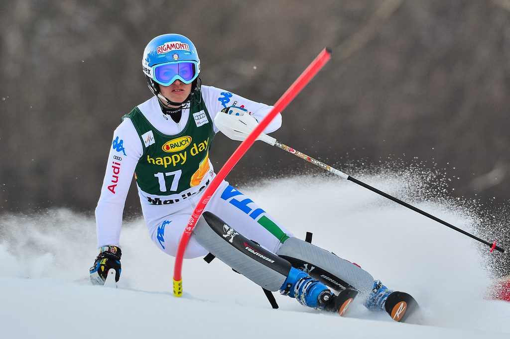 . Irene Curtoni of Italy competes during first run of the FIS women\'s World Cup slalom in Maribor on January 27, 2013.      Jure Makovec/AFP/Getty Images