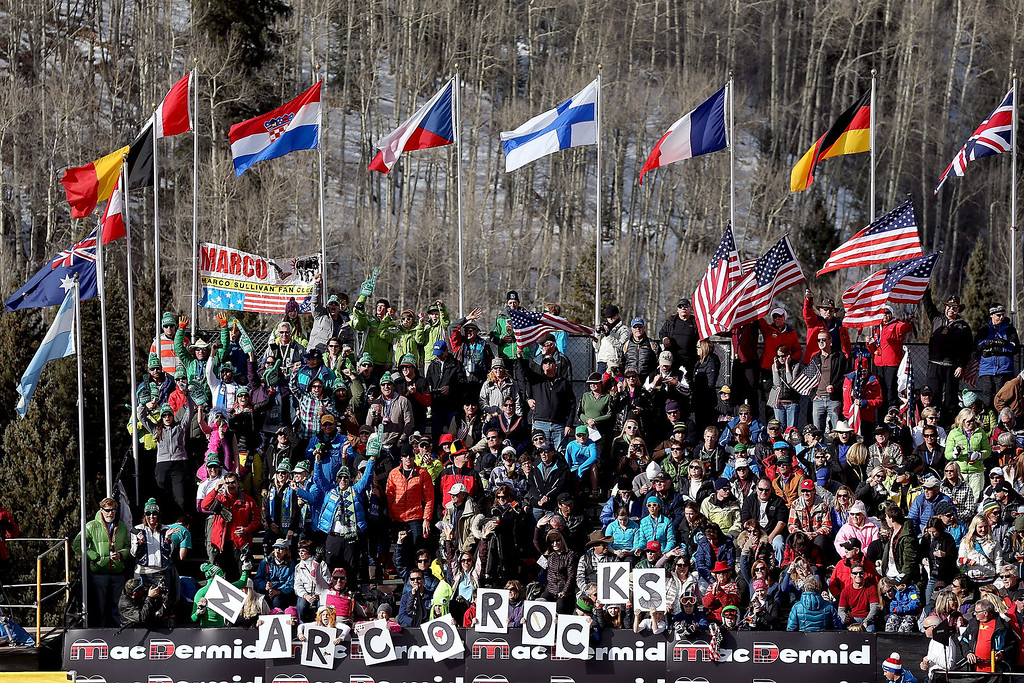 Description of . Fans cheer for Marco Sullivan during the men's downhill on the Birds of Prey at the Audi FIS World Cup on November 30, 2012 in Beaver Creek, Colorado.  (Photo by Matthew Stockman/Getty Images)