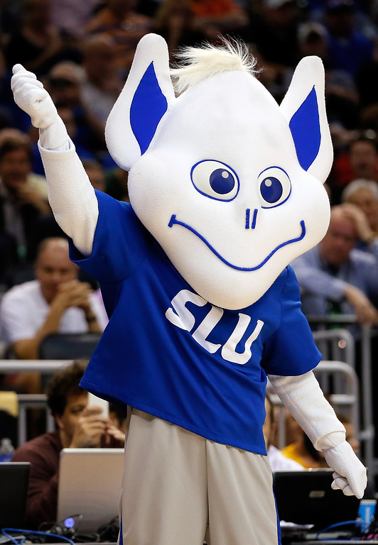 Description of . Saint Louis Billikens mascot cheers against the North Carolina State Wolfpack during the second round of the 2014 NCAA Men's Basketball Tournament at Amway Center on March 20, 2014 in Orlando, Florida.  (Photo by Kevin C. Cox/Getty Images)