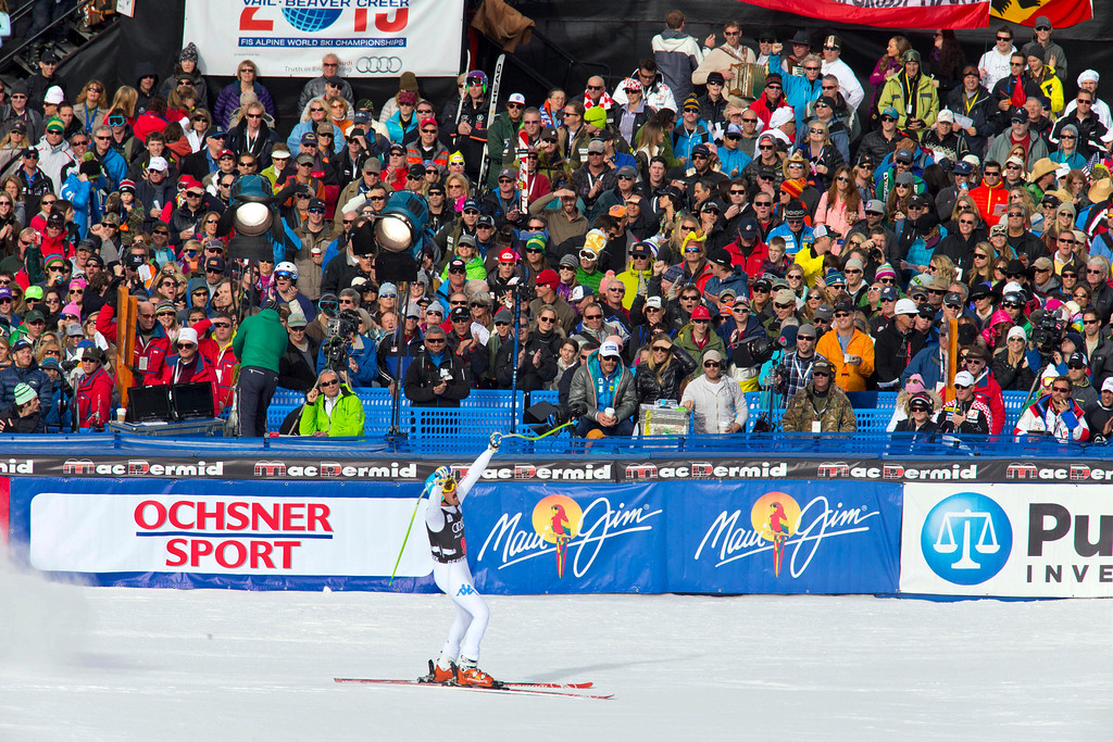 Description of . Christof Innerhofer of Italy, reacts in the finish area after his run in the men's World Cup downhill ski race in Beaver Creek, Colo., on Friday, Nov. 30, 2012. Innerhofer won the race. (AP Photo/Nathan Bilow)