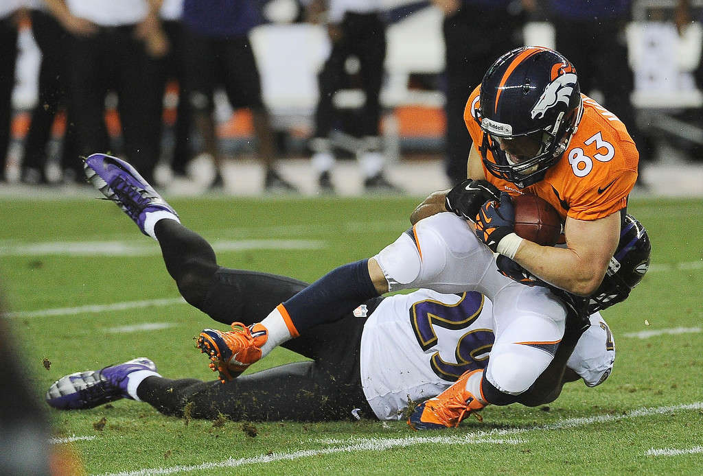 Description of . Denver Broncos wide receiver Wes Welker (83) catches a pass and runs past Baltimore Ravens cornerback Corey Graham (24) in the first quarter.   (Photo by John Leyba/The Denver Post)