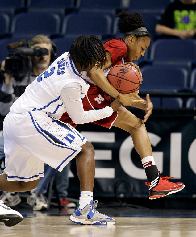 Description of . Duke guard Alexis Jones (2) battles for the ball with Nebraska guard Tear\'a Laudermill (1) during the second half of a regional semifinal game of the women\'s NCAA college basketball tournament Sunday, March 31, 2013, in Norfolk, Va. Duke won 53-45. (AP Photo/Steve Helber)