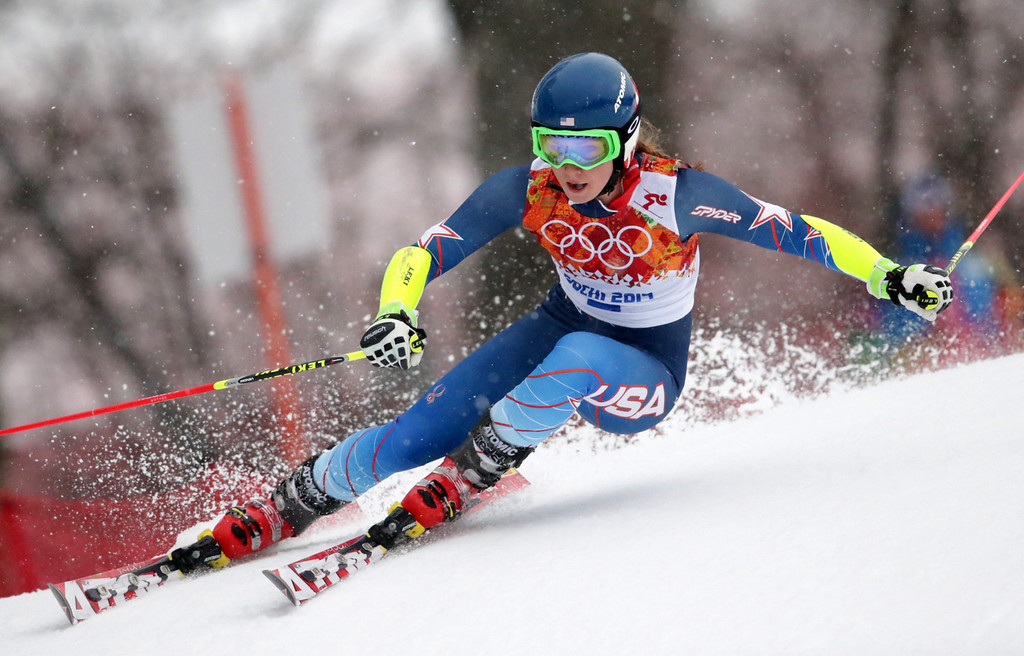 Description of . Mikaela Shiffrin of the USA in action during the first run of the Women's Giant Slalom race at the Rosa Khutor Alpine Center during the Sochi 2014 Olympic Games, Krasnaya Polyana, Russia, 18 February 2014.  EPA/MICHAEL KAPPELER