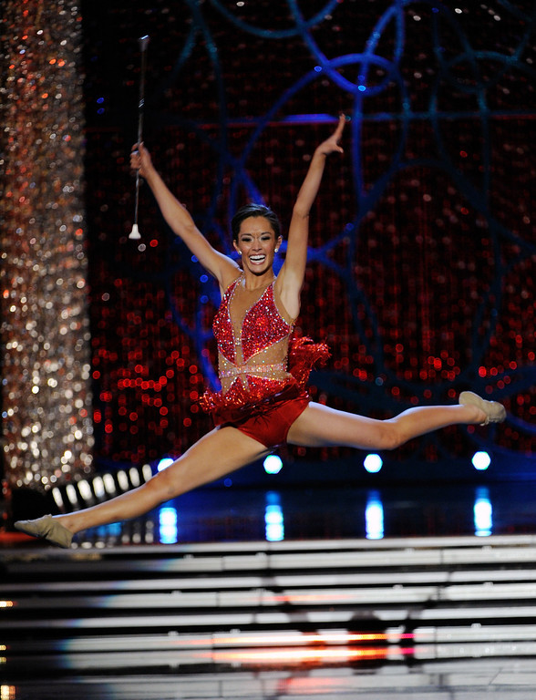 Description of . DaNae Couch, Miss Texas, competes in the talent competition during the 2013 Miss America Pageant at PH Live at Planet Hollywood Resort & Casino on January 12, 2013 in Las Vegas, Nevada.  (Photo by David Becker/Getty Images)