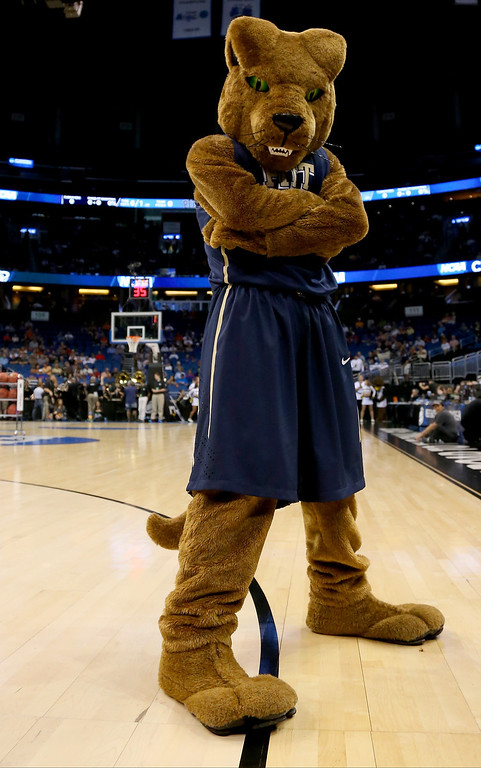 Description of . The Pittsburgh Panthers mascot poses before the Panthers take on the Colorado Buffaloes during the second round of the 2014 NCAA Men's Basketball Tournament at Amway Center on March 20, 2014 in Orlando, Florida.  (Photo by Mike Ehrmann/Getty Images)