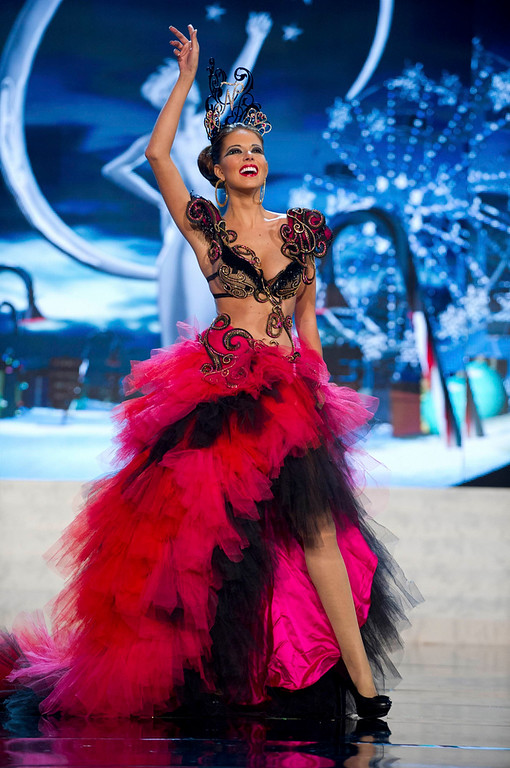 Description of . Miss Spain Andrea Huisgen performs onstage aat the 2012 Miss Universe National Costume Show at PH Live in Las Vegas, Nevada December 14, 2012. The 89 Miss Universe Contestants will compete for the Diamond Nexus Crown on December 19, 2012. REUTERS/Darren Decker/Miss Universe Organization/Handout