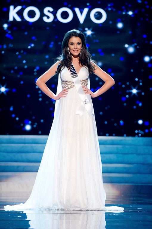 Description of . Miss Kosovo 2012 Diana Avdiu competes in an evening gown of her choice during the Evening Gown Competition of the 2012 Miss Universe Presentation Show in Las Vegas, Nevada, December 13, 2012. The Miss Universe 2012 pageant will be held on December 19 at the Planet Hollywood Resort and Casino in Las Vegas. REUTERS/Darren Decker/Miss Universe Organization L.P/Handout