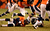 Denver Broncos quarterback Peyton Manning (18) gets sacked by Baltimore Ravens outside linebacker Terrell Suggs (55) making it fourth down and nine during the second half.  The Denver Broncos vs Baltimore Ravens AFC Divisional playoff game at Sports Authority Field Saturday January 12, 2013. (Photo by John Leyba,/The Denver Post)